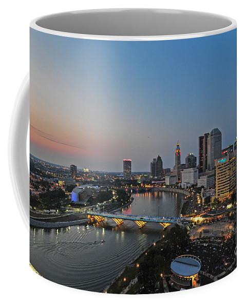 Columbus Coffee Mug featuring the photograph D2l448 Columbus Ohio Night Skyline Photo by Ohio Stock Photography