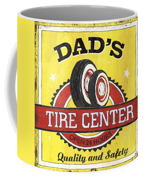 Dad Coffee Mug featuring the painting Dad's Tire Center by Debbie DeWitt