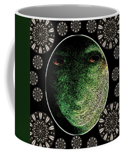 Daemon Coffee Mug featuring the mixed media Daemon Of Stargate by Pepita Selles
