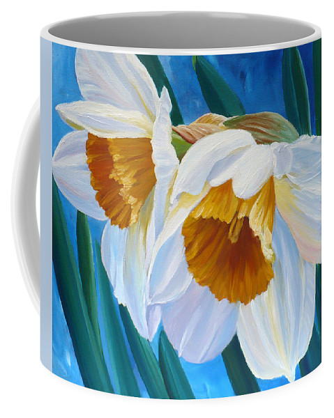 Daffodil Art Coffee Mug featuring the painting Daffodils Narcissus by Janet Zeh