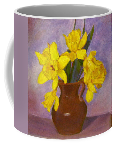 Daffodils Coffee Mug featuring the painting Yellow Daffodils On Purple by Robie Benve