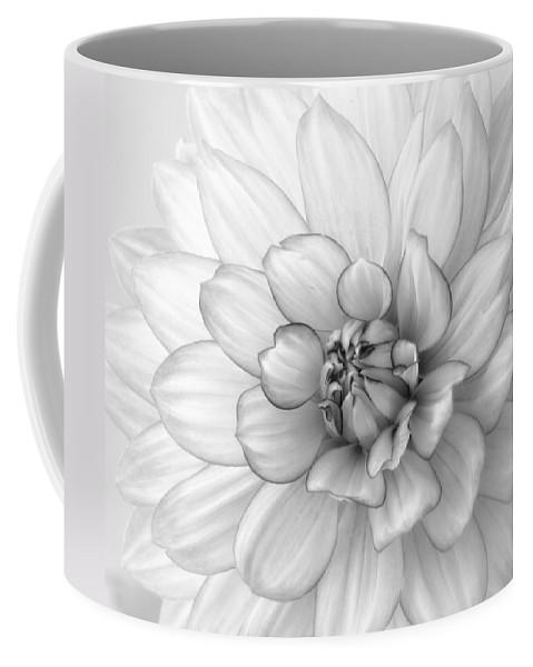 Dahlia Coffee Mug featuring the photograph Dahlia Flower Black And White by Kim Hojnacki