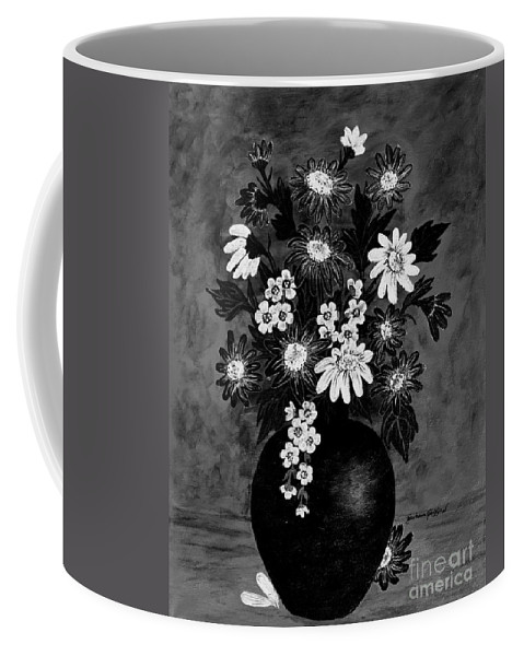 Daisies Coffee Mug featuring the painting Daisies In Black And White by Barbara Griffin