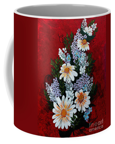 Barbara Griffin Coffee Mug featuring the painting Daisies Lilacs And Forget Me Nots by Barbara Griffin
