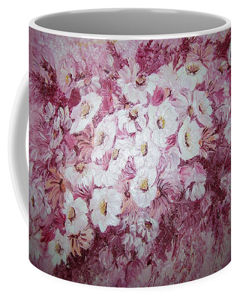 Coffee Mug featuring the painting Daisy Blush by Karin Dawn Kelshall- Best