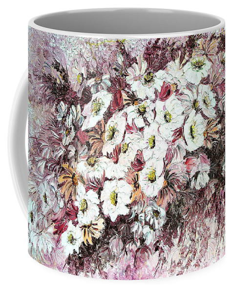 Coffee Mug featuring the painting Daisy Blush Remix by Karin Dawn Kelshall- Best