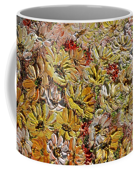 Daisies Coffee Mug featuring the painting Daisy Field by Karin Dawn Kelshall- Best