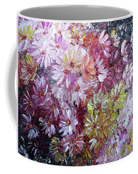 Flowers Coffee Mug featuring the painting Daisy Mix  Sold by Karin Dawn Kelshall- Best