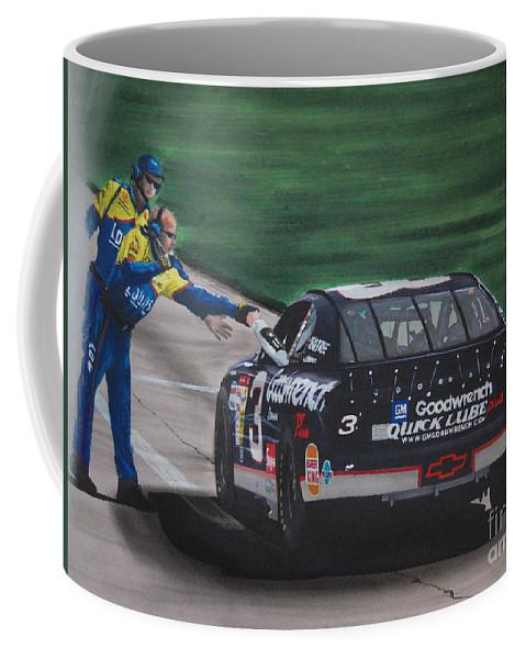 Car Coffee Mug featuring the drawing Dale Earnhardt Wins Daytona 500-pit Road Hand Shake by Paul Kuras