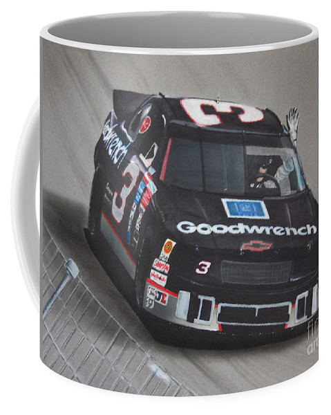 Car Coffee Mug featuring the drawing Dale Earnhardt Wins-wave To The Crowd by Paul Kuras