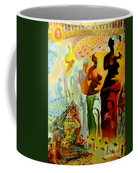 Salvador Dali Coffee Mug featuring the painting Dali Oil Painting Reproduction - The Hallucinogenic Toreador by Mona Edulesco