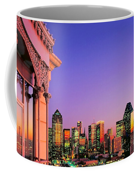 Dallas Coffee Mug featuring the photograph Dallas Skyline At Dusk by David Perry Lawrence