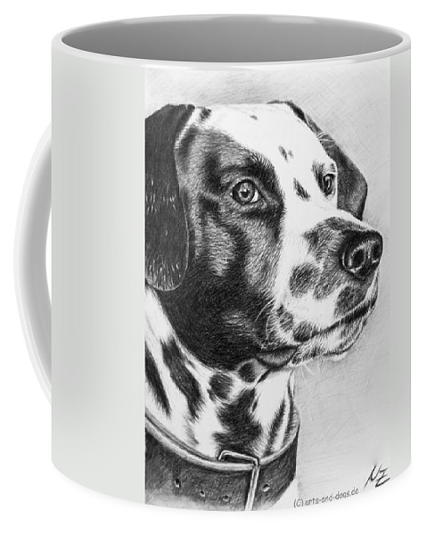 Dog Coffee Mug featuring the drawing Dalmatian Portrait by Nicole Zeug