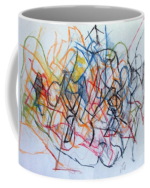 Torah Coffee Mug featuring the drawing Dance Of The Spirit 1 by David Baruch Wolk