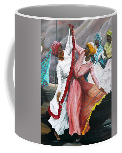 Dancers Folk Caribbean Women Painting Dance Painting Tropical Dance Painting Coffee Mug featuring the painting Dance The Pique 2 by Karin Dawn Kelshall- Best