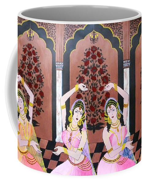 Dancers Coffee Mug featuring the painting Dancers In Mughal Court by Rupa Prakash