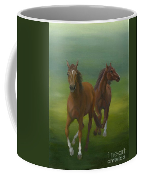 Horses Coffee Mug featuring the painting Dancers by Nancy Dunham
