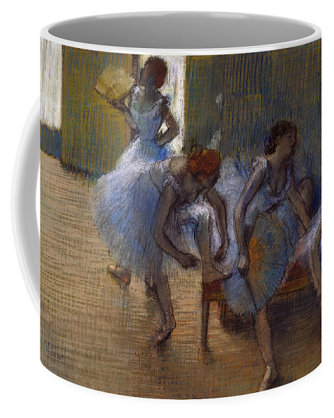 Degas Coffee Mug featuring the pastel Dancers On A Bench, 1898 by Edgar Degas