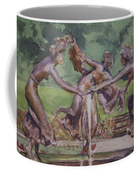 Dancing Maidens Coffee Mug featuring the painting Dancing Maidens by Walter Lynn Mosley