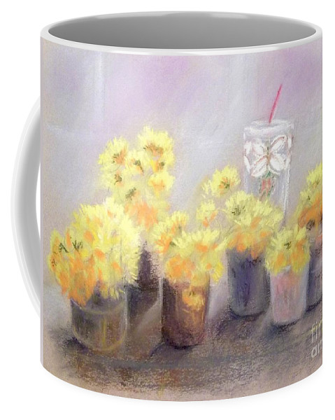 Flower Coffee Mug featuring the pastel Dandelions by Yoshiko Mishina