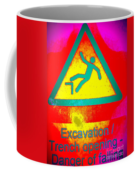 Signs Coffee Mug featuring the photograph Danger Of Falling by Ed Weidman