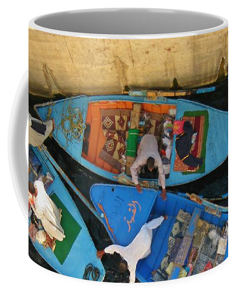 Egypt Photographs Coffee Mug featuring the photograph Dangerous Manouvers At The Nile River Canal Locks by John Malone