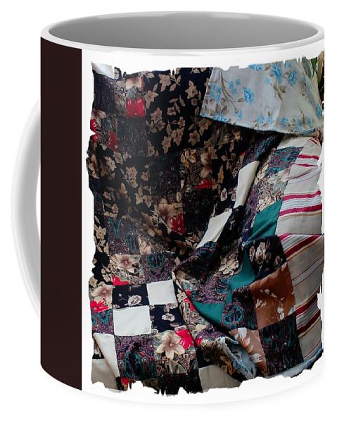 Dark Colored Blocks Patchwork Quilt Coffee Mug featuring the photograph Dark Colored Blocks Patchwork Quilt by Barbara Griffin