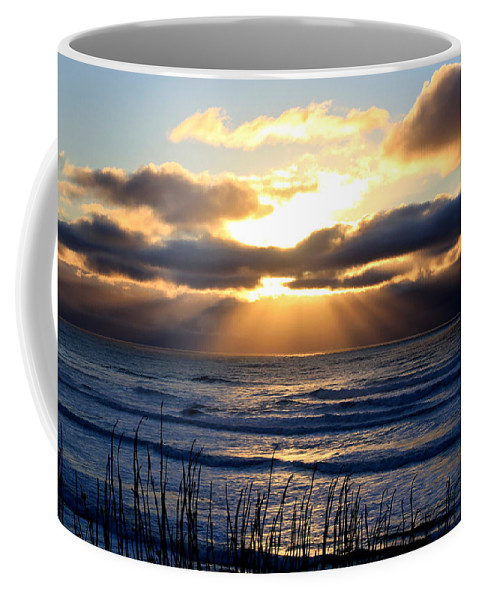 Sunset Coffee Mug featuring the photograph Dark Ocean Sunset by Athena Mckinzie