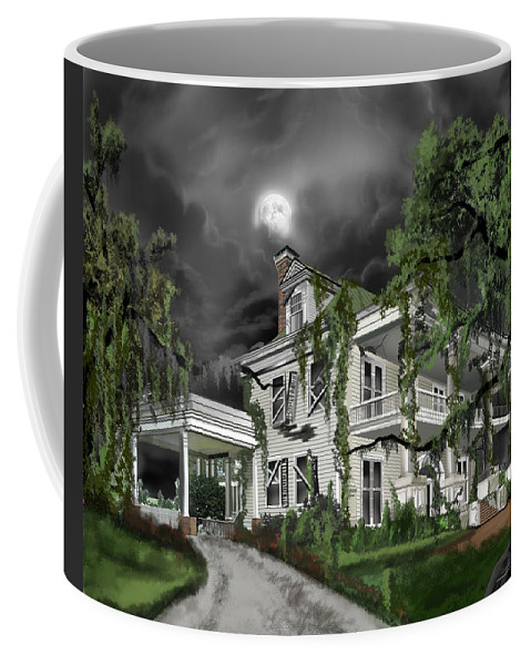 Coffee Mug featuring the painting Dark Plantation House by James Christopher Hill