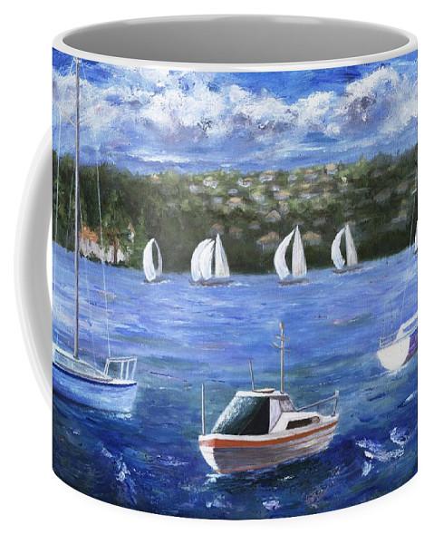 Australia Coffee Mug featuring the painting Darling Harbor by Jamie Frier