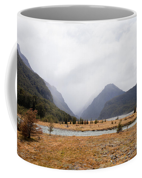 Dart Coffee Mug featuring the photograph Dart River Valley Rain Clouds Mt Aspiring Np Nz by Stephan Pietzko