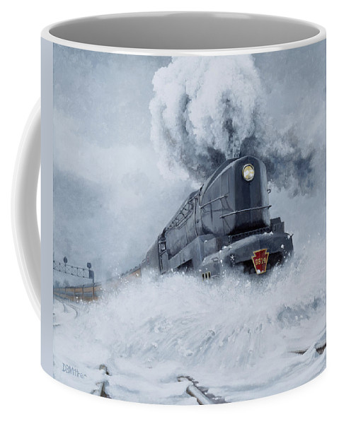 Trains Coffee Mug featuring the painting Dashing Through the Snow by David Mittner