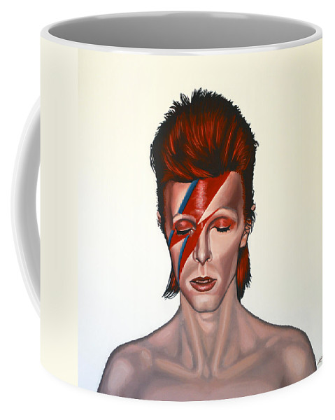David Bowie Coffee Mug featuring the painting David Bowie Aladdin Sane by Paul Meijering