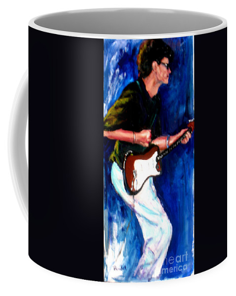 New Orleans Coffee Mug featuring the painting David On Guitar by Beverly Boulet