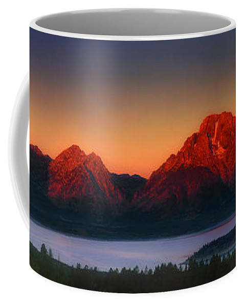 Wyoming Landscape Coffee Mug featuring the photograph Dawn Light On The Tetons Grant Tetons National Park Wyoming by Dave Welling