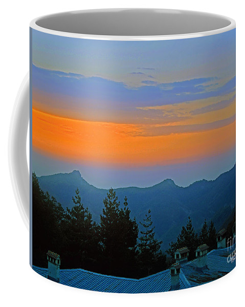 Space Coffee Mug featuring the photograph Dawn Over Cross Forest by Violeta Ianeva