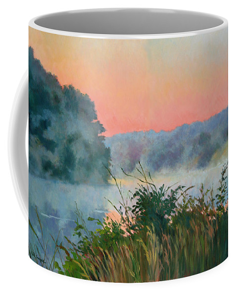 Impressionism Coffee Mug featuring the painting Dawn Reflection by Keith Burgess