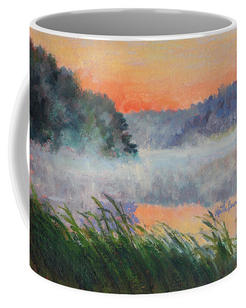 Impressionism Coffee Mug featuring the painting Dawn Reflection Study by Keith Burgess