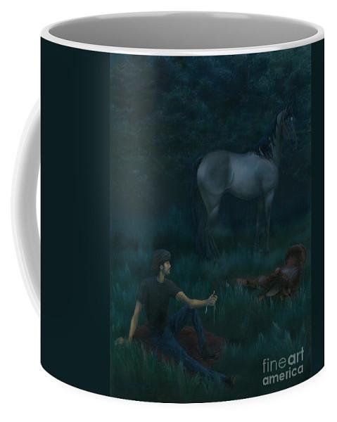 Man Coffee Mug featuring the painting Dawning by Nancy Dunham