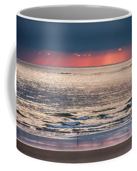 New England Coffee Mug featuring the photograph Dawns Red Sky Reflected by Jeff Folger