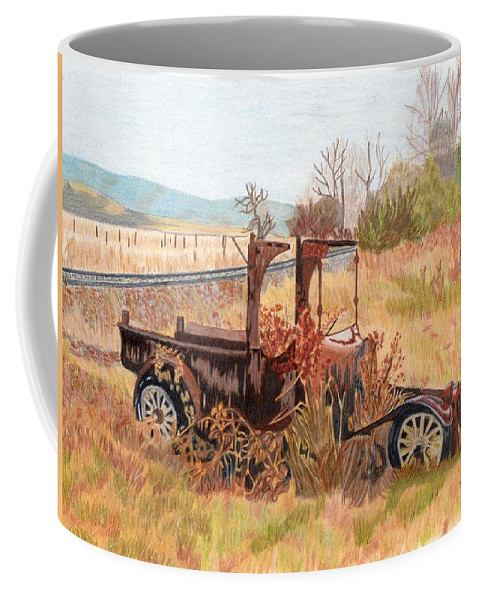 Old Car Coffee Mug featuring the painting Days Gone Bye by Gail Seufferlein