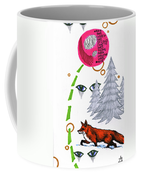 Fox Coffee Mug featuring the drawing Days Inside Of Days by John Ashton Golden