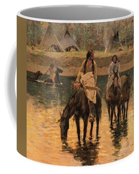 Days Of Long Ago Detail Coffee Mug featuring the digital art Days Of Long Ago Detail by Henry Farny