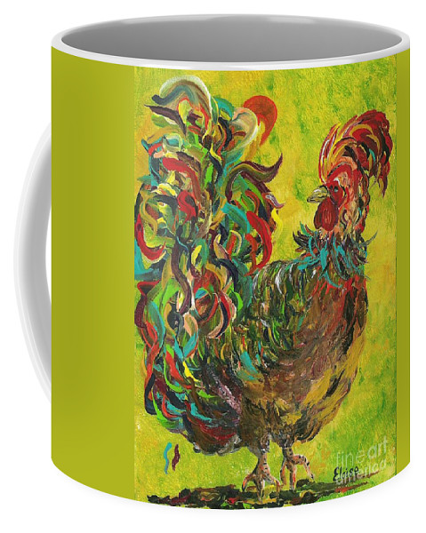 Rooster Coffee Mug featuring the painting De Colores Rooster #2 by Eloise Schneider