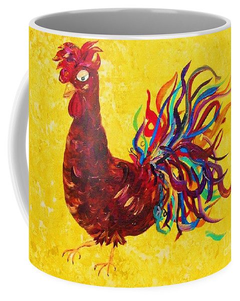 Rooster Coffee Mug featuring the painting De Colores Rooster by Eloise Schneider