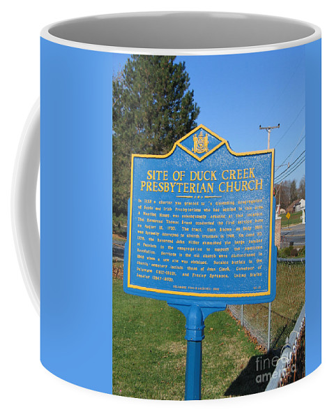 Historic Marker Coffee Mug featuring the photograph De-kc81 Site Of Duck Creek Presbyterian Church by Jason O Watson