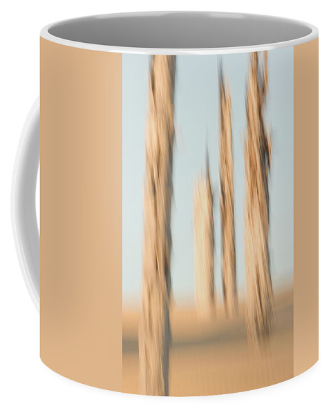 Arid Coffee Mug featuring the photograph Dead Conifer Trees In Sand Dunes by Phil Schermeister