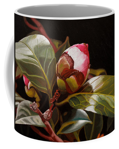 Rose Coffee Mug featuring the painting December Rose by Thu Nguyen