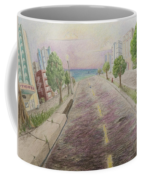 Miami Art Deco Animation Background Cartoon Landscape Coffee Mug featuring the painting Deco Drive by Brenda Salamone