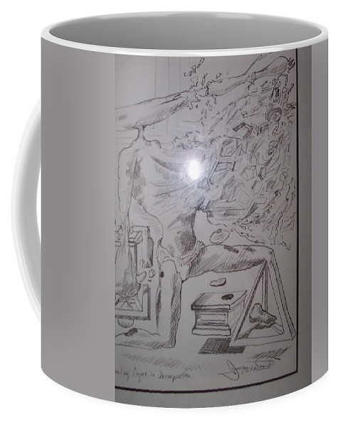 Coffee Mug featuring the painting Decomposition Of Kneeling Man by Jude Darrien